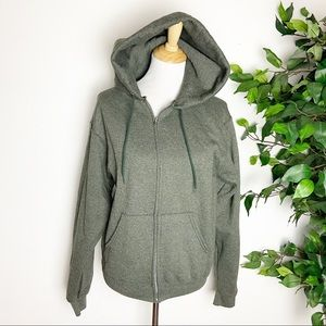 Champion olive green full zip hooded jacket small